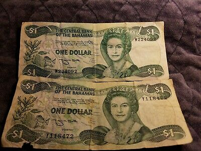 Paper Money ~ Lot of 2 ~ $1.00 from The Central Bank of the Bahamas