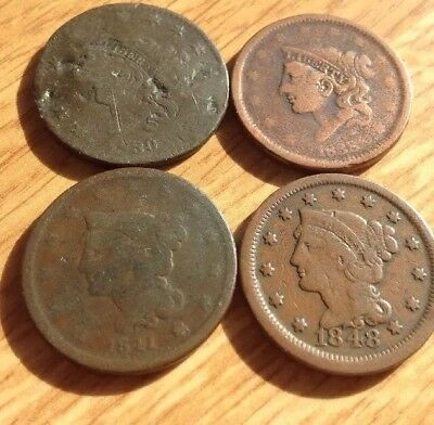 Lot Of 4 US Large Cents