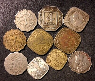 Old India Coin Lot - 1917-1944 - 10 VINTAGE Collectible Coins - Lot #N14