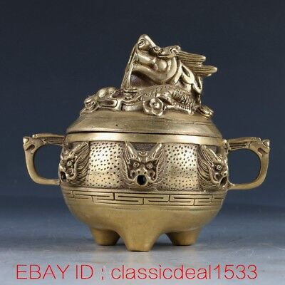 Chinese Brass Handwork Carved Dragon Incense Burner & Lid W Qianlong Mark PA0062