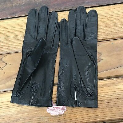 Pair of Vintage Denise Francelle Black French Leather Wrist Length Gloves Sz 7.5