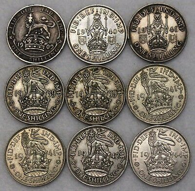 (9) Great Britain Silver Shillings- 1909 Plus 2 Scotland Shillings High Grade!
