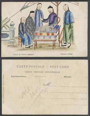 China Old Hand Painted Postcard Chinese Fortune Telling Chinaman Chefoo 明至堂 測字算命
