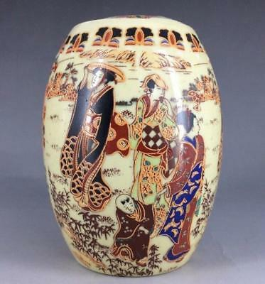 Chinese Old hand painting  kimono woman - ceramic pot