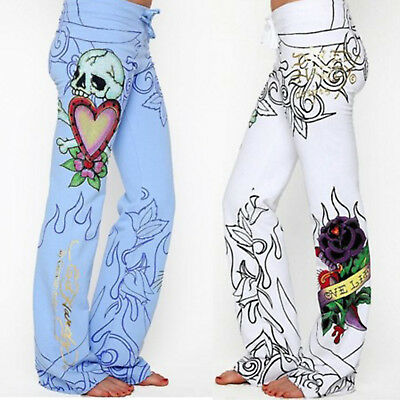 Women Baggy Skull Rose Printed Pants Hippie Wide Leg Boho Palazzo Trousers US