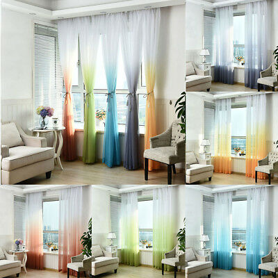 Modern Hotel Decor Window Yarn Gradient Curtain Bedroom Living Room Curtain US