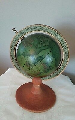 Vintage Italian Old World Wooden Desk Top Globe with Music Box