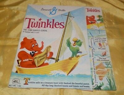 Circa Early 1960's General Mills Twinkles Cereal Box-Elephant and Parrot in Boat