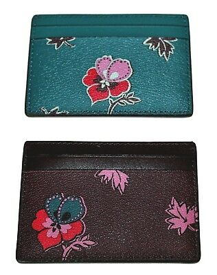 COACH Credit Card ID Holder Case Wildflower Print  Oxblood or Teal F12773