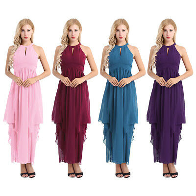 Women Pleated Long High Low Prom Dress Long Formal Ball Gown Evening Cocktail