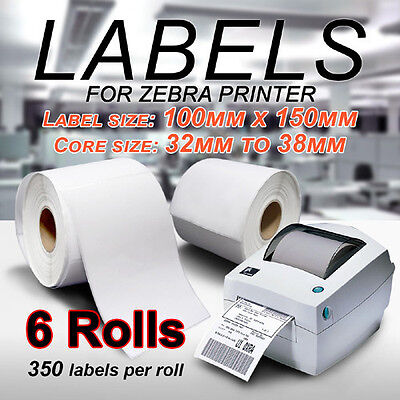 6 Rolls Direct Thermal Shipping Labels 100mm x 150mm - 350/roll For Zebra