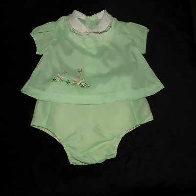 Sweet Vintage Baby Girl's Embroidered Dress/top Plastic Lined Diaper Cover Set