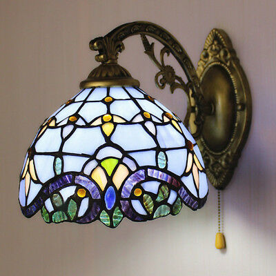 Handcrafted Wall Lamp Victorian Style Stained Glass Wall Sconce Lamp with Switch