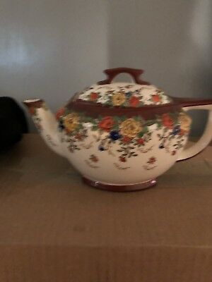 Vintage royal Trico Teapot and Sugar Bowl Hand Decorated Hand Painted Japan