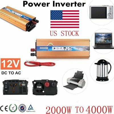 2000W WATT DC 12V AC 220V Car Power Inverter Electronic Charger Converter