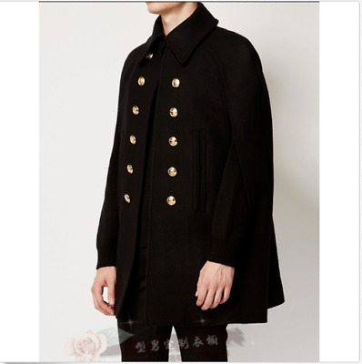 Autumn Winter Mens Loose Jackets Cloak Cape Mid Long Double-breasted Coat CH XL
