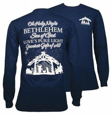 SALE!! Southern Couture Preppy Oh Holy Night Navy Long Sleeve Tee Shirt