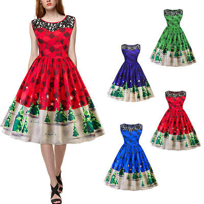 2017 Women Vintage 50s 60s Tree Print Lace Sleeveless Xmas Party Red Swing Dress
