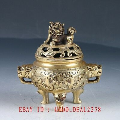 Old Chinese Brass Handwork Carved Hollow Lion Incense Burner With QIanlong Mark