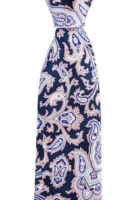 """Mens BRIONI Italy Navy Pink Paisley Hand Made Woven 3.25"""" Silk Neck Tie NWT"""