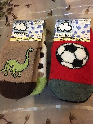 World's Softest Socks Youth Cozy & Fun Six 6 Pairs Total for Kids Age 4-7