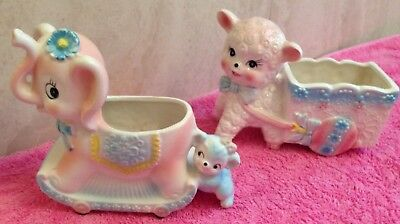 Vintage Inarco Lamb Sheep And Elephant Porcelain Ceramic Planter Set Beautiful