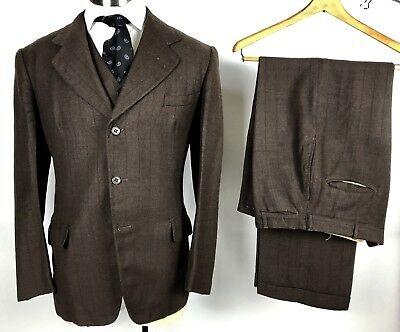 VTG 30s 40s 3pc brown striped suit 38R Empire State Clothes 34 waist x 30 inseam