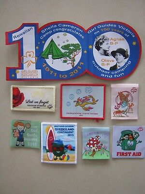 lot GIRL GUIDE badges collectable biscuits ANZAC BUNYA fairy koala first aid cam