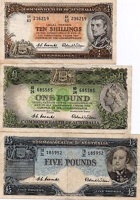 3x Australia 1953/1960-61 QEII Coombs/Wilson 10 shillings /1 & 5  Pounds notes
