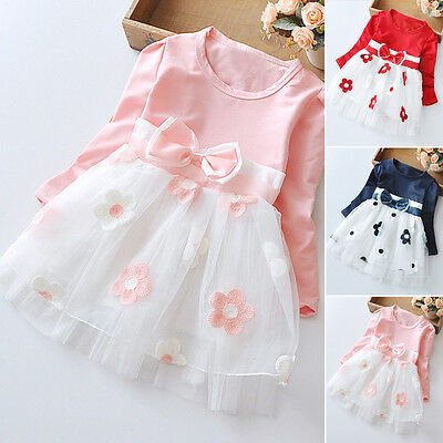 Baby Girls Long Sleeve Kids Toddler Cotton Party Wedding Princess Dress tp