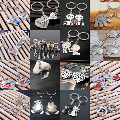 New Romantic Valentine's Day  Couple Keychain Metal Keyring Keyfob Lover Gift