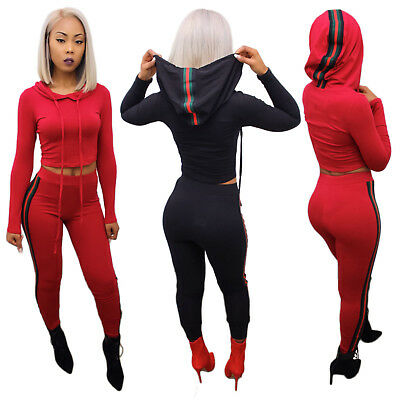 Womens long sleeves hooded bodycon clubwear party sports casual jumpsuit 2pc
