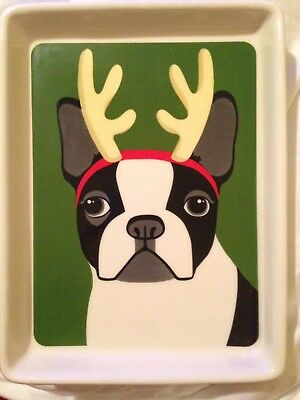 Boston terrier tray - use as appetizer dish - Plate Or for display UNIQUE!