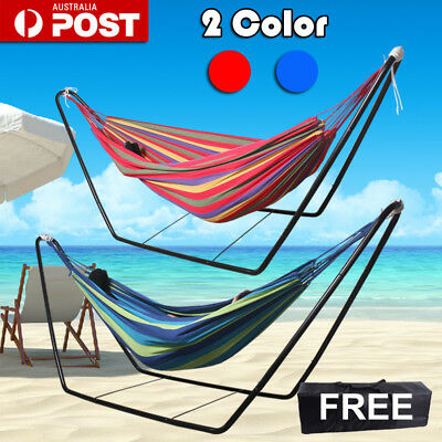 2 Color Double Hammock Air Chair Steel Frame Stand Combo Free Carrying Bag Yard