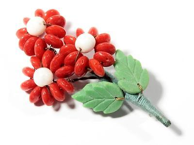 Vintage Czech Art Glass wired red rondelle beaded Flower bouquet leaf pin brooch