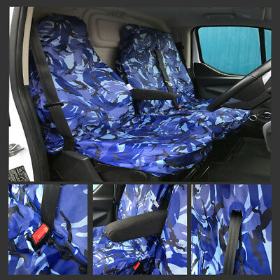 CAMOUFLAGE BLUE HEAVY DUTY 2+1 SEAT COVERS RENAULT TRAFFIC 01