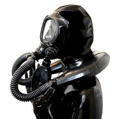 Latexmaske Studio Gasmaske Gum mi fuer Demask-Party im full-black-Style eKP359EU