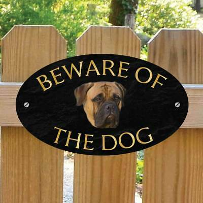 Beware of the Bullmastif Gate Sign, Robust Outdoor Beware of the Dog Gate Plaque