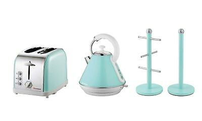 6PC Set of Electric Kettle, Toaster, Bread bin & 3 Canisters - Ruby Red