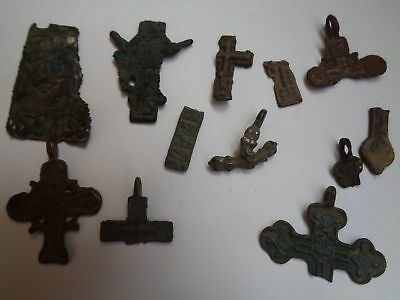 Set of 12 fragments of ancient orthodox bronze crosses 1700-1900 AD original