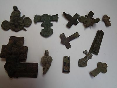 12 fragments of ancient orthodox bronze crosses 1700s-1900 AD original