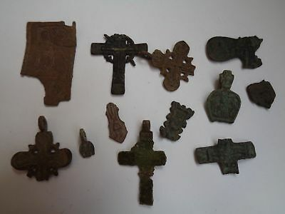 12 fragments of ancient orthodox bronze crosses icons 1600-1900 AD original