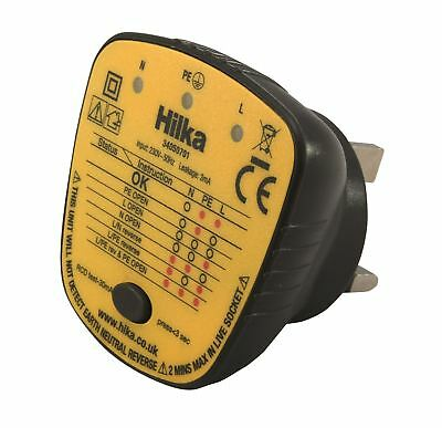 Hilka 13A Mains LED Socket Tester & RCD Test 230v UK Plug