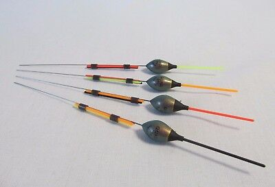 DRENNAN QUAD POLE FLOATS .25g WIRE STEMS MIXED COLOURS SET OF 4