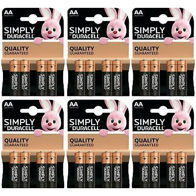24 x Duracell Simply AA 1.5v Power Battery Pack Alkaline LR6 MN1500 Long Lasting