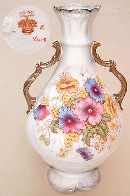 "S. Fielding & Co (1891-1913): 'RYE' Floral & Gilt SPRING Vase:10"" Tall x 5"" Dia."