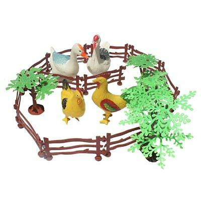 Kids Farm Animal Toys Set of 19 Pieces - Hen Cock Duck Goose Trees and Fence