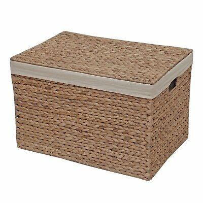 Wicker Storage Box, Lined Chest, Water Hyacinth - Bedroom Bathroom Living Dining
