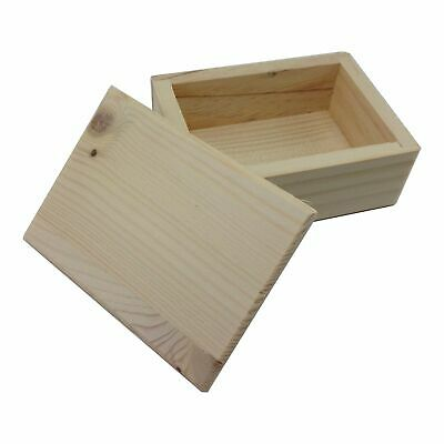 """Small Unfinished Wood Box w/ Lid for Painting Staining 3 1/2"""" x 1 5/8"""" x 1 1/2"""""""