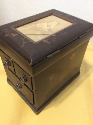 ANTIQUE CHINESE JAPAN WOOD JEWELRY Tea TRINKET BOX BLACK LACQUER ASIAN PHOTO